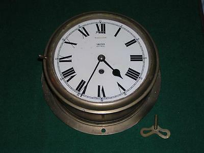 """Smiths Astral Brass Ships Clock 8"""" face, back plate 10.5"""" inch"""
