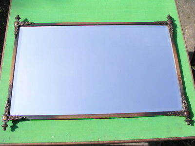Antique Brass Frame Bevelled Glass Wall Mirror Oblong c1910