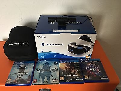Sony PlayStation VR (PS4) bundle camera, case and 4 games