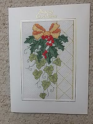 Completed Cross Stitch Christmas Card Candles 4x6inch