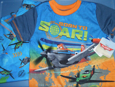 Disney Planes Blue Orange Green Pajamas Set Boys Size XS 4/5 NWT