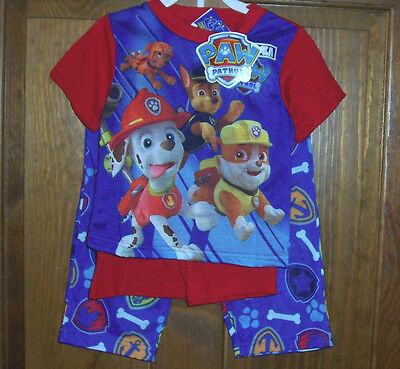 Paw Patrol Pajamas Toddler Boys Size 2T  3 Piece Set NWT Nickelodeon Blue Red