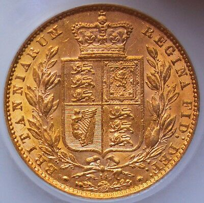 LUSTROUS 1865 Victoria Gold Shield Sovereign (Die Number 14)