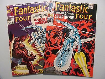 Two Comic Lot: Fantastic Four 55 and 72 - Great Silver Surfer Covers!!!