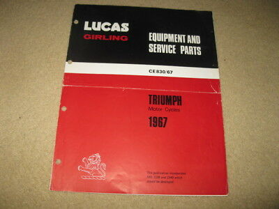 Triumph Motorcycle Lucas Girling Service Parts Catalogue 1967