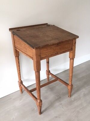 Antique school teacher desk with hinged lid