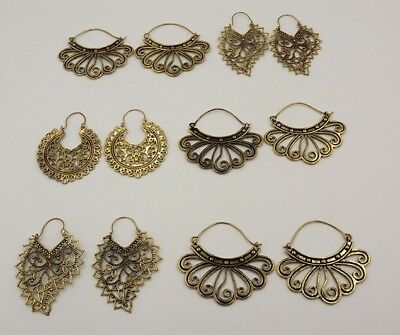 Top Amazing 925 Solid Brass 6Pcs. Lot Deluxe Antique Spiral Earring KA10309