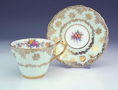 Vintage Paragon China - Flower & Gilt Mint Green Cabinet Cup & Saucer - Lovely!