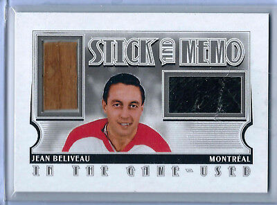 2013-14 ITG Used Game-Used Stick and Memo Limited Silver Version Jean Beliveau