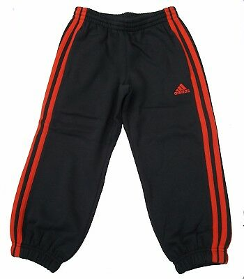 Adidas Performance Boys Lk 3S Sweat Pants 1.5-6Y Grey/orange Fleece Joggers Bnwt