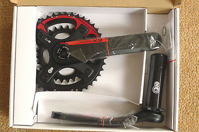 SRAM X9 2x10 Alloy Chainset BB30 Mountain Bike double crankarm twin chain rings