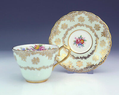 Vintage Paragon China - Floral Gilded Mint Green Cabinet Cup & Saucer