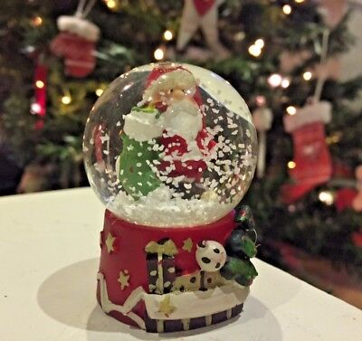Small Father Christmas Glass Snow Globe Waterball ~ Santa & Stocking 4175
