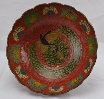 Vintage Made in Indian Solid Brass Bowls Enesco Enamel Peacock Beautiful