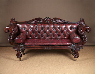 Antique Regency Era Mahogany & Leather Scroll End Settee c.1810