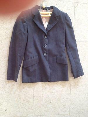 GRAND PRIX Grey PINSTRIPE Youth's Hunt Coat Size 12 *VGC* 100% WOOL