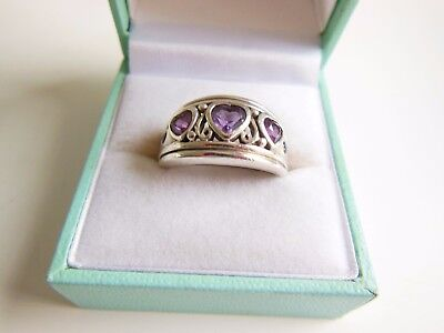 Unique Vintage Amethyst  Sterling Silver Designer Heavy Thick Ring Hallmarked