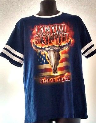 "Live Nation Brand Lynyrd Skynyrd ""Made In America"" Ringer T Shirt Blue Size XL"