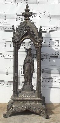 Rare Antique French Shrine Statue Virgin Mary Our Lady of Lourdes Spelter Icon