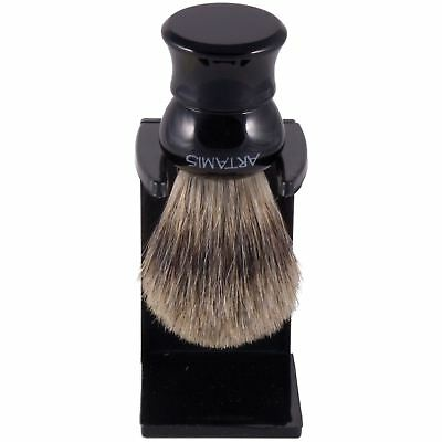 Artamis Pure Badger Hair Small Shaving Brush with Drip Stand - Black