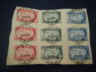 1958 SET x 3 ON PIECE with CDS Trinidad & Tobago stamps USED - A lovely item