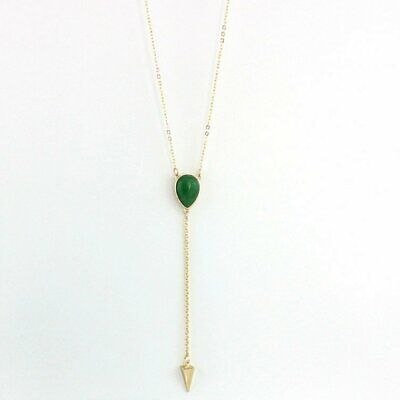 Green Natural Stone and Gold Arrow Head Lariat Necklace Fashion Layered