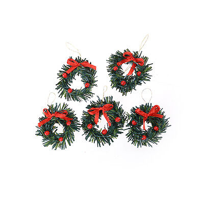 1:12 DollHouse Christmas Garland Decoration With Red Bow DIY Home Decor GiftAB