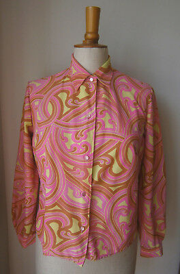 VINTAGE 1960s WOMENS PINK ORANGE & YELLOW SWIRLY PSYCHEDELIC PRINT BLOUSE MOD