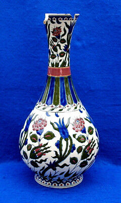 "ZSOLNAY PECS ANTIQUE VASE DECORATED WITH HAND PAINTED FLOWERS HT. 36cm. 14""inc."
