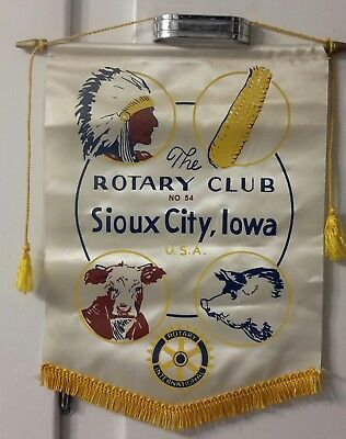 Vintage Rotary Club Banner from Sioux City Iowa