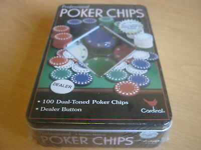 poker chips new unopened in a tin