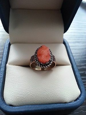 Antique Gold and Coral Cameo Ring - Sz. 3.5 - Wide Band