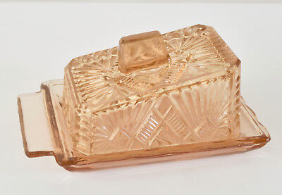 Lovely Vintage Art Deco Glass Butter/Cheese Dish Pink Depression Glass
