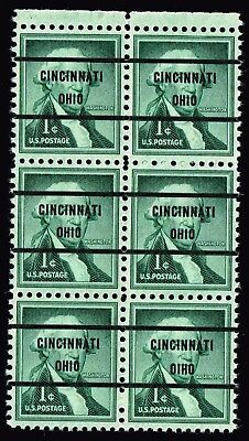 "USA STAMP #1031 –1956 1c Washington MNH/OG Precancel  ""OIHO"" ovpt ERROR BLK OF 6"