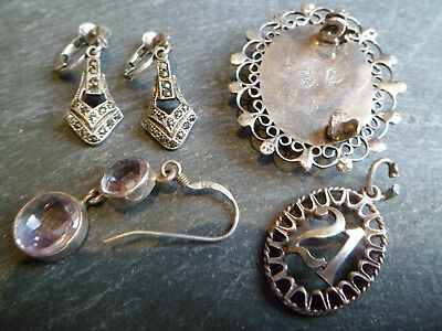 Collection Of Vintage Antique Solid Silver Jewellery Ear Rings Brooch Scrap Lot