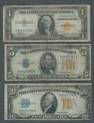 LOT of 3 North Africa WWII Notes, YELLOW SEALS, $1, $5, and $10 Emergency Issue