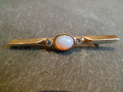 Vintage Gold Tone Opal And White Stone Pin Brooch - Possibly Gold Plated