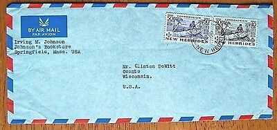 Rare 1957 New Hebrides Cover/envelope Mailed To Usa From Santo,new Hebrides