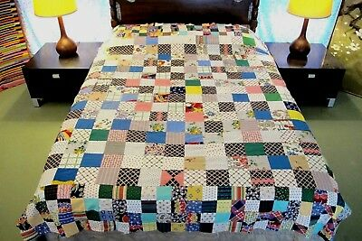Vintage All Cotton, Some Feed Sack; HIT & MISS Quilt TOP w/ Novelty Prints; FULL