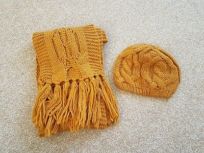 Mustard yellow hat and scarf set
