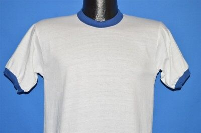 vintage 80s RUSSELL ATHLETIC WHITE BLUE RINGER BLANK t-shirt YOUTH LARGE