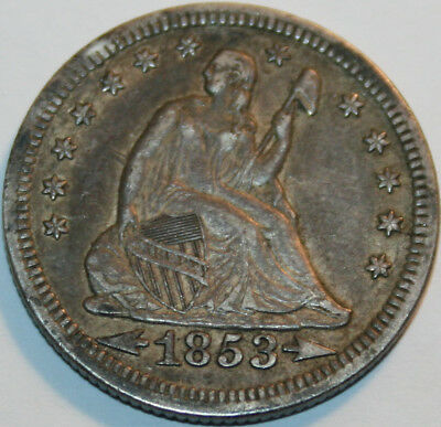 1853-P Seated Liberty Quarter Arrows and Rays [SN06]