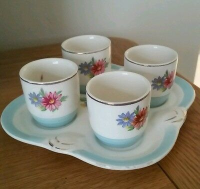 George Clews vintage egg pottery set.