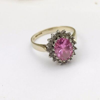 VINTAGE SOLID 9ct GOLD PINK TOPAZ C Z  CLUSTER LADIES RING SIZE P
