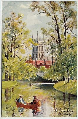 CAMBRIDGE - St John's Tower - by J W Ruddock of Lincoln - c1900s era postcard