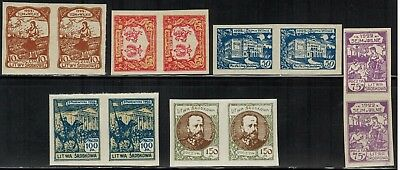 Central Lithuania #53-58 Complete Imperf Pair Set 1921-22 MNH
