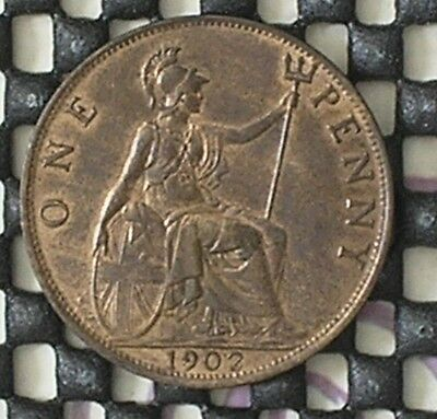 1902 KING EDWARD V11 BRITISH ONE PENNY (low tide) COIN