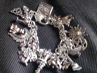 Pagan, Wiccan Charm Bracelet, with 21 charms. Handmade.