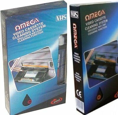 Omega 23022 VHS VCR Cassette Tape Video Head Cleaner System Wet & Dry with Fluid