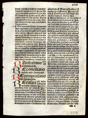 Incunable Leaf 1492 Summa Angelica Civil & Canon Law 6 Handcolored Letters
